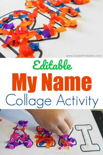 Editable My Name Collage Activity