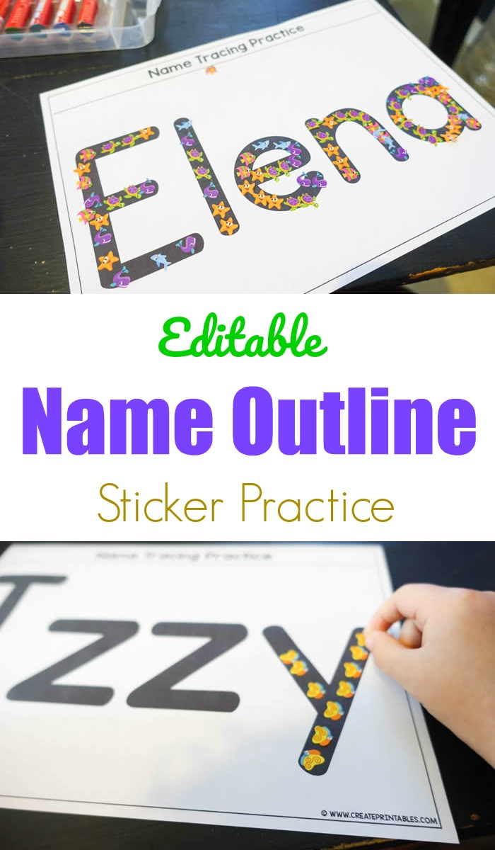 Editable Name Outline Sticker Practice
