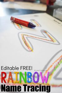 free editable name tracing in rainbow