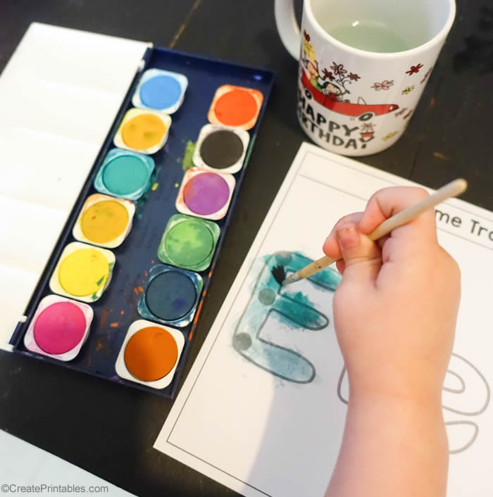 name tracing worksheet with paint
