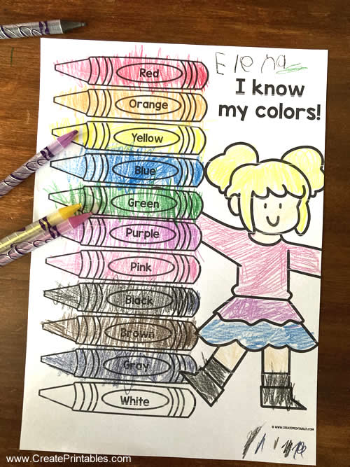 boy and girl color crayons page editable