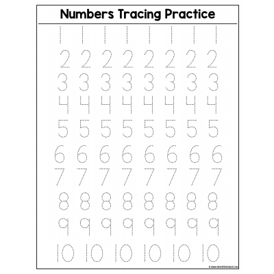 Sample - Numbers Tracing Practice - Page 1